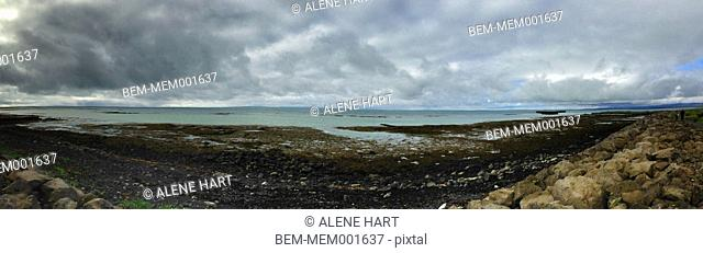 Panoramic view of rocky rural beach
