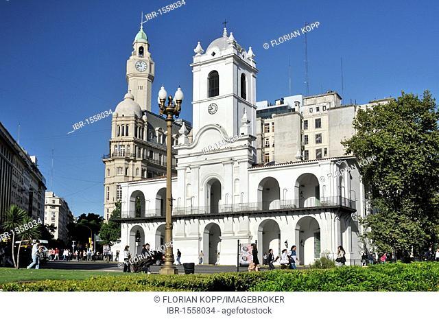 Cabildo building, former government house at Plaza de Mayo Square, Montserrat district, Buenos Aires, Argentina, South America