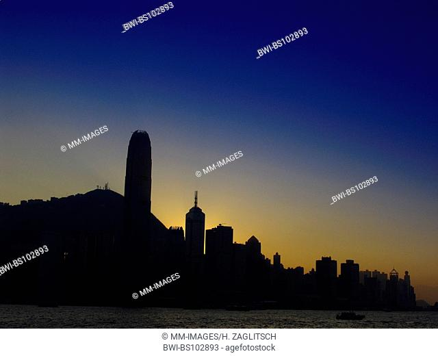 skyline of Hongkongs Central District at twilight, China