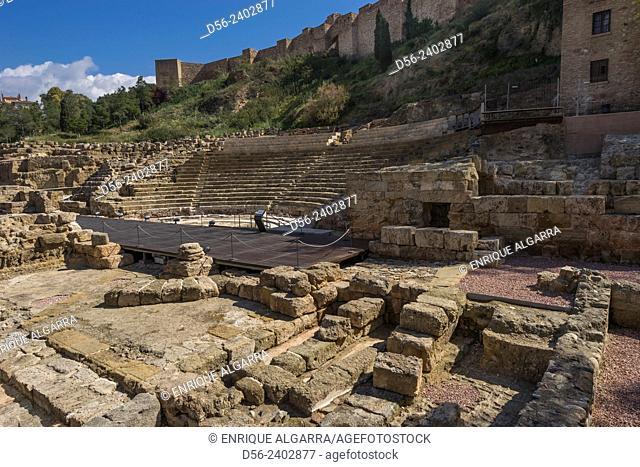 Alcazaba and Roman theatre, Malaga, Andalucia, Spain