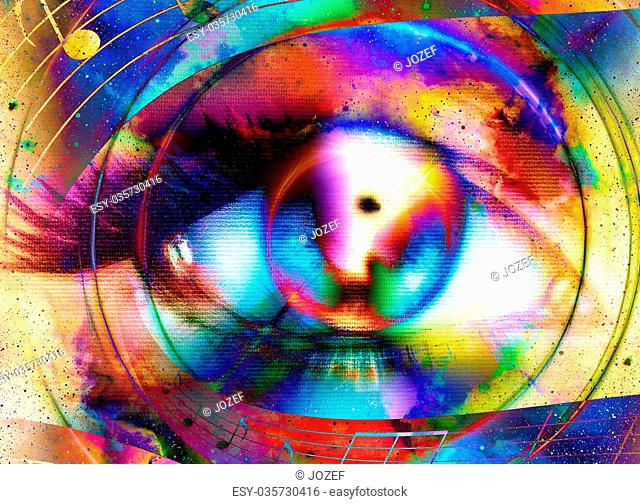 Woman Eye and music note and cosmic space with stars. abstract color background, eye contact