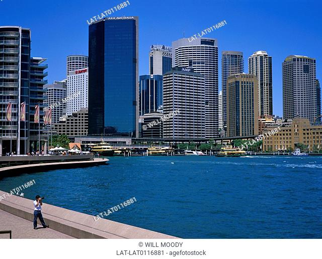 Sydney is the most populated city in Australia. The Sydney Business district encompasses many of Australia's tallest skyscrapers