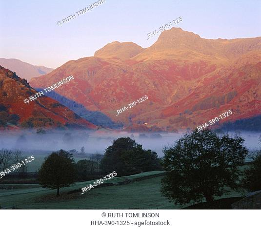 Morning mist, Great Langdale from Chapel Stile, Langdale Pikes in early morning light, Lake District National Park, Cumbria, England, UK