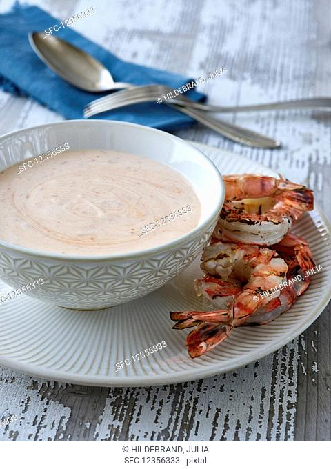 Bisque with grilled shrimp