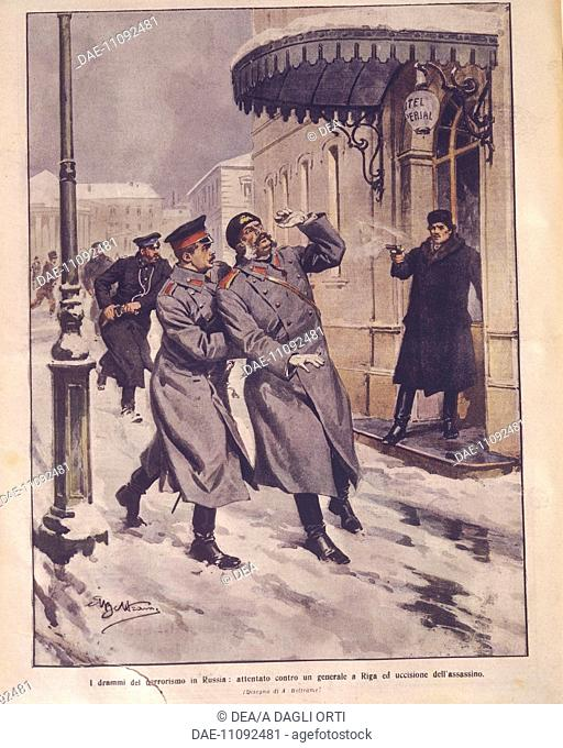 History, Terrorism in the Russian Empire. Attempt on a General's life in Riga and death of the assailant. Cover illustration from La Domenica del Corriere