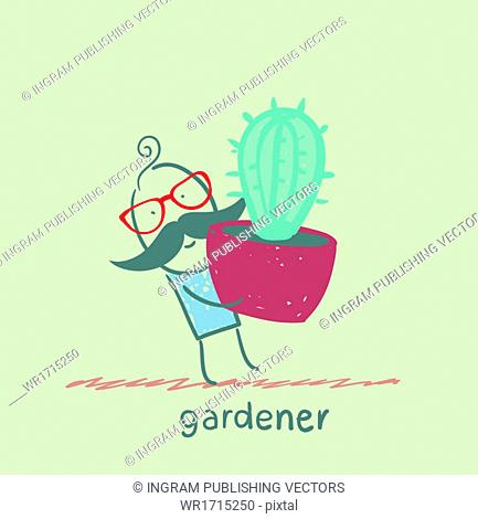 gardener carries a cactus