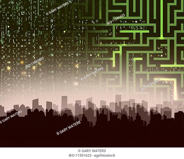 Maze and computer coding over city skyline