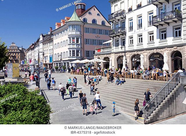 Street cafes at market place, Constance, Lake Constance, Baden-Württemberg, Germany