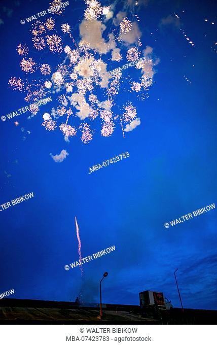 Portugal, Azores, Sao Miguel Island, Ponta Delgada, Festa Santo Christo dos Milagres festival, fireworks