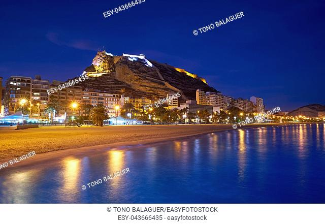 Alicante skyline at sunset from Postiguet beach in spain