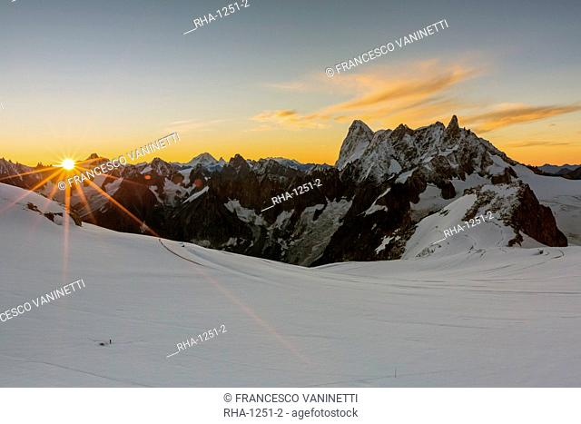 Rochefort ridge with Dent du Geant, Mont Blanc Glacier, Chamonix-Mont-Blanc, Haute-Savoie, Auvergne-Rhone-Alps, France, Europe