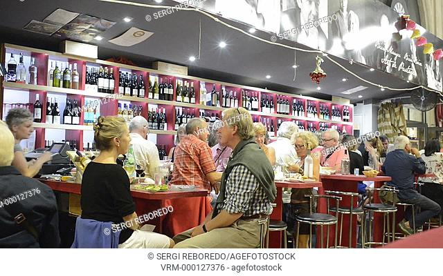 Narbonne, market restaurants. France. Much more than a market, the Narbonne Halles are one of the nerve centres of the city