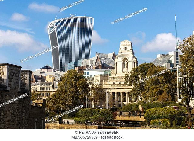 A view over the Thames with view to the skyline of London with The walkie-talkie, England, Great Britain