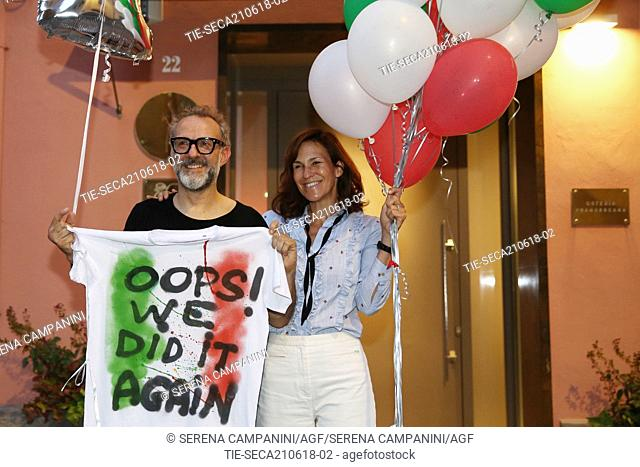 Chef Massimo Bottura with wife Lara Gilmore coming back from Bilbao where at the World's 50 Best Restaurants 2018 the restaurant Osteria Francescana was elected...