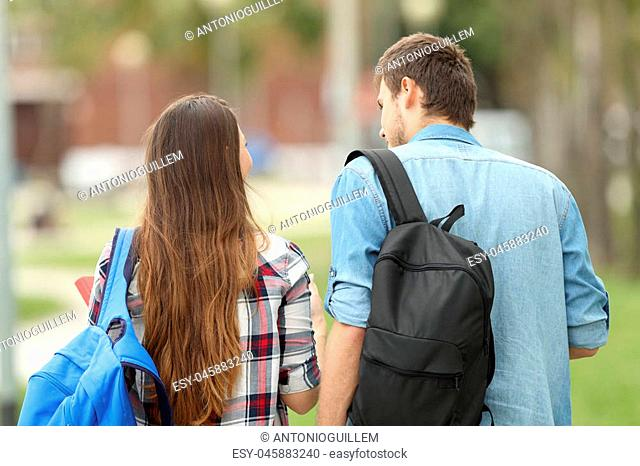 Rear view portrait of two students carrying bags walking and talking in a park