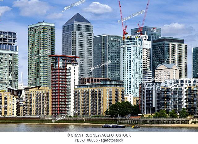 New Building Construction At Canary Wharf, London, England