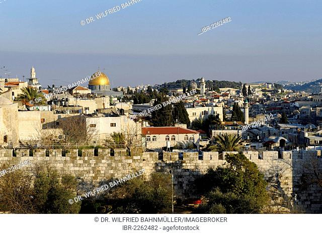 Dome of the Rock, Old City, Jerusalem, from Paulus guest house, Israel, Middle East