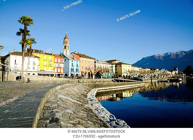 Ascona Village reflected in the water