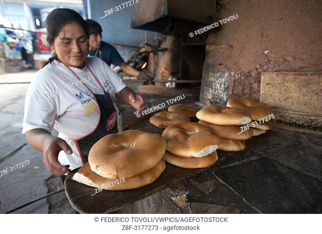 The Collasuyo continues south passing the town of Oropesa, known throughout the country for a special sweet bread, made by hand.. Cusco. Peru