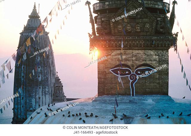 Swayambunath (Monkey Temple), sacred to both buddhists and hindus. Nepal