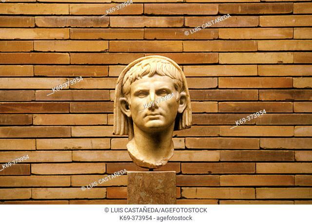 Veiled head of  Emperor Cæsar Augustus. Roman Art Museum. Mérida. Spain