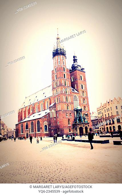 The Main Market Square and St Mary's Church in Krakow, Poland