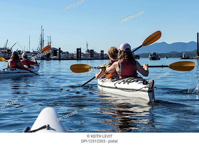 Kayaking in Clayoquot Sound, Vancouver Island; Tofino, British Columbia, Canada