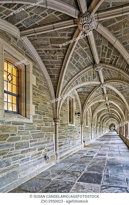 Princeton University Hallway - A view to a perfect example of Collegiate Gothic architecture style. Princeton University is a private Ivy League research...