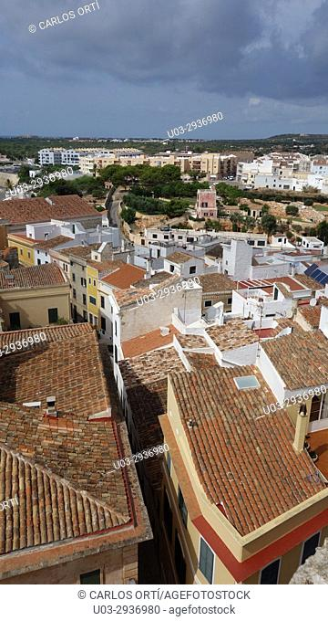 Partial view of the city of Ciutadella from the top of its cathedral, Menorca, Spain, Europe