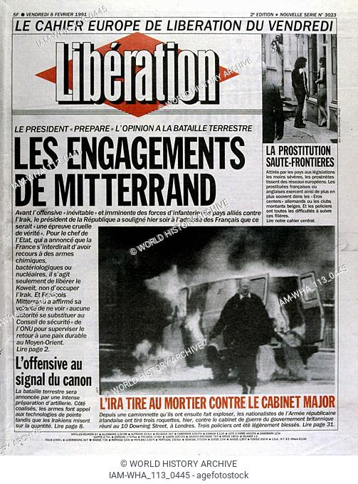 President Mitterrand outlines his position on the Gulf War 1991 Front page of the French newspaper 'Liberation' 6th February 1991