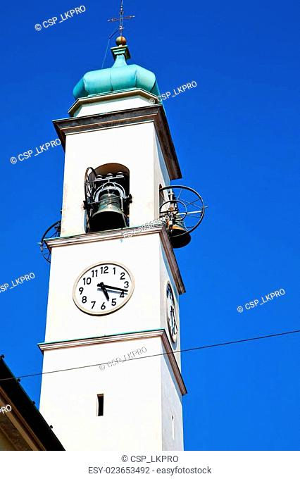 ancien clock tower in italy europe old stone and