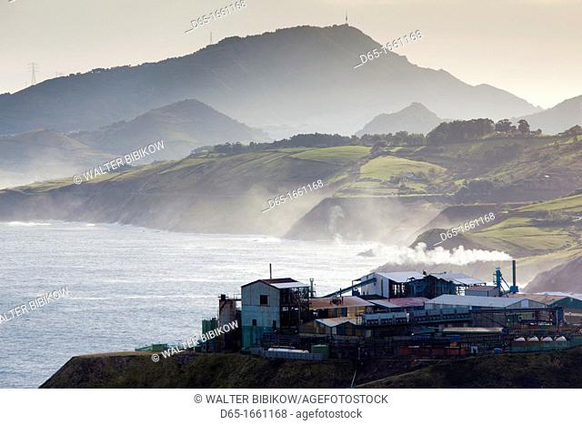 Spain, Basque Country Region, Vizcaya Province, Bilbao-area, Miono, view of the Rio de Bilbao estuary and factory at the start of the Cantabrian coast