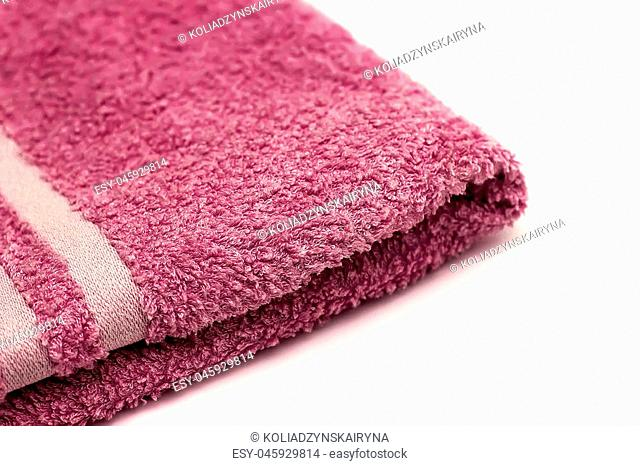 bath towel isolated on white background, rolled angle