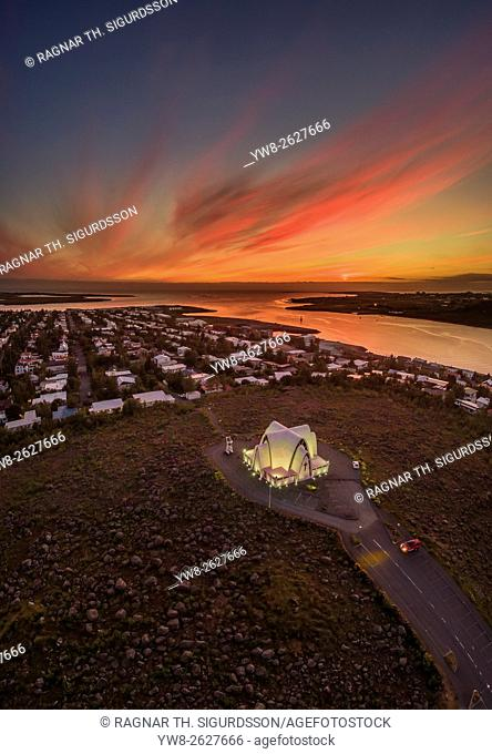 Top view of Church near Reykjavik, Iceland. Aerial of Kopavogur Church located in a suburb of Reykjavik Iceland. Image is shot using a drone