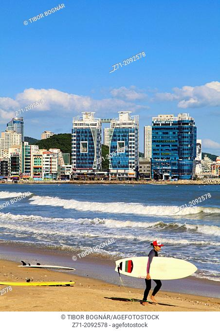 South Korea, Busan, Gwangalli Beach, skyline, surfer,