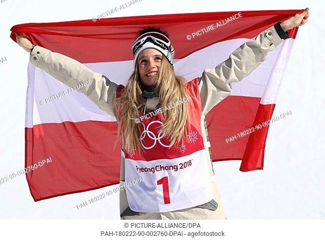 22 February 2018, South Korea, Pyeongchang, Olympics, Snowboard big air, womens, finals, Alpensia Ski Jump Centre: Austria's Anna Gasser celebrates winning the...