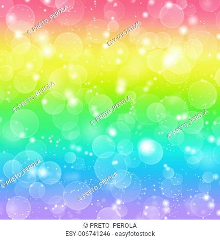 Rainbow holiday background with bokeh lights