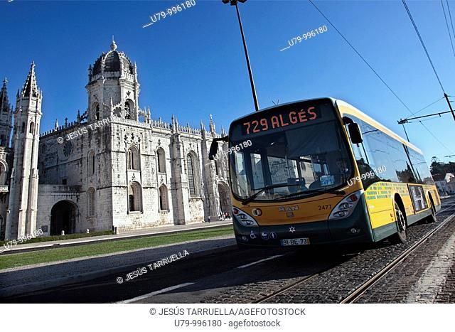 Bus in front of the Geronimos Monastery in the Belem area of Lisbon, Portugal, Europe