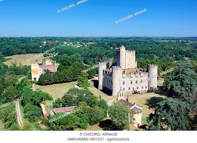France, Gironde, Mazeres, Chateau Roquetaillade (aerial view)