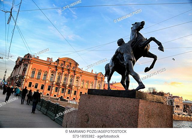 Statue in the bridge over the channel in Saint Petersburg, Russian Federation
