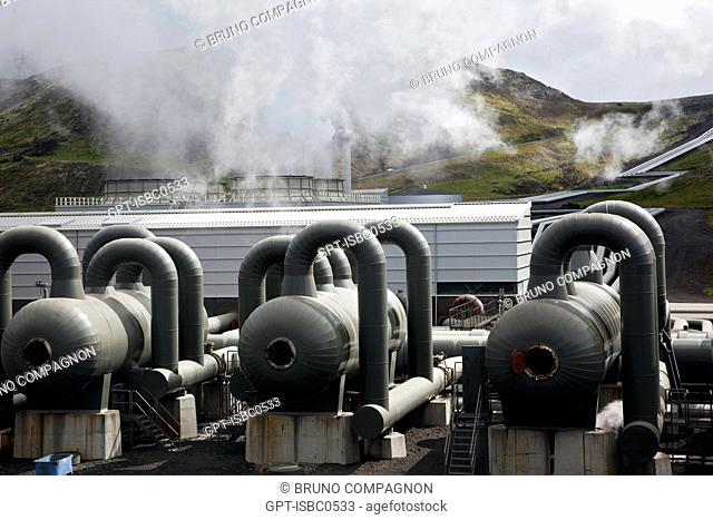 THE HELLISHEIDI GEOTHERMAL PLANT, THE SECOND BIGGEST IN THE WORLD, SITUATED ON MONT HENGILL, SOUTHWEST ICELAND, EUROPE