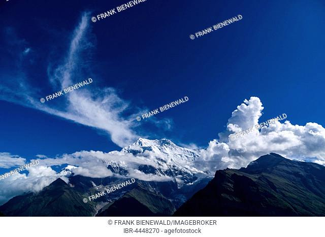 Snowcapped mountain Annapurna 2, covered in clouds, Upper Marsyangdi valley, Ghyaru, Manang District, Nepal