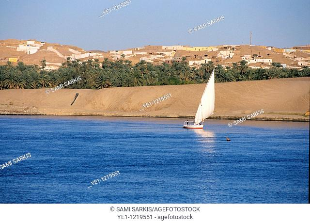 Felucca sailing on the waters of the Nile River, Aswan, Egypt