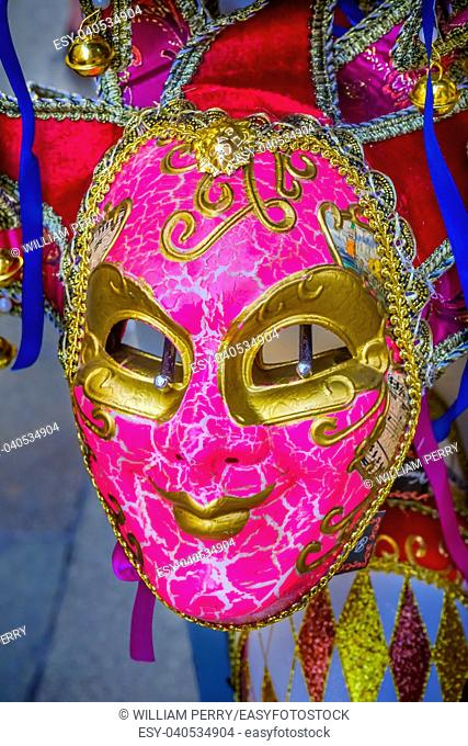 Pink Venetian Mask Venice Italy Used since the 1200s for Carnival, which were celebrated just before Lent. In ancient times