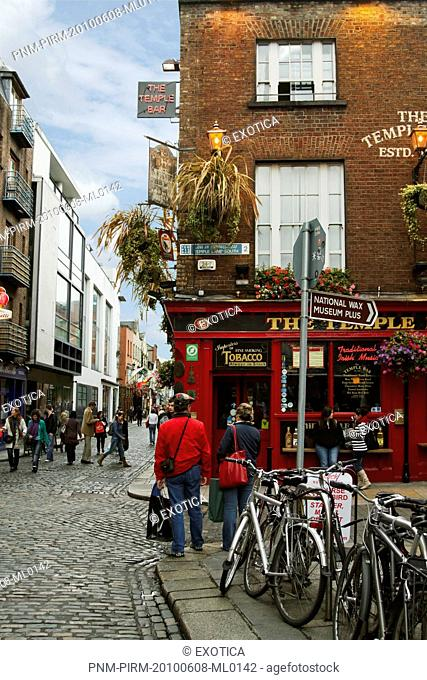 People walking in a street, Temple Bar, Dublin, Republic of Ireland