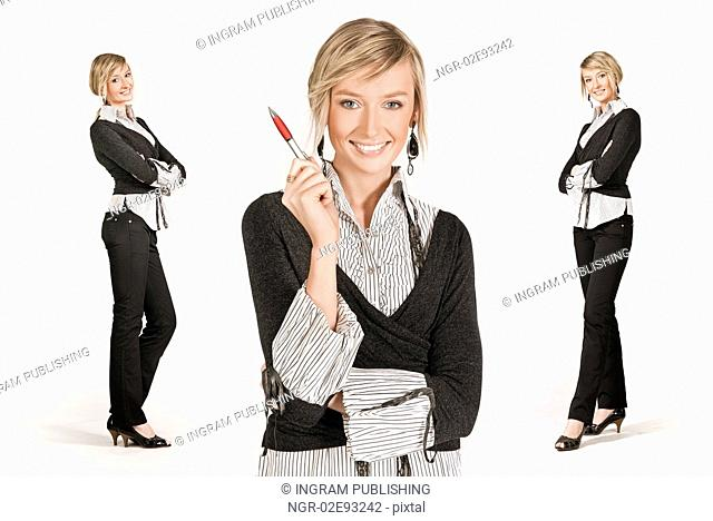 Three young happy businesswoman, different poses