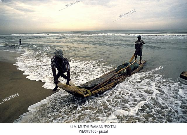 Fishermen at work - Marina Beach, Bay of Bengal, Chennai, Madras, Tamil Nadu