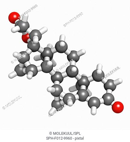 Drospirenone contraceptive drug molecule. Progestin used in birth control pills. Atoms are represented as spheres with conventional colour coding: hydrogen...