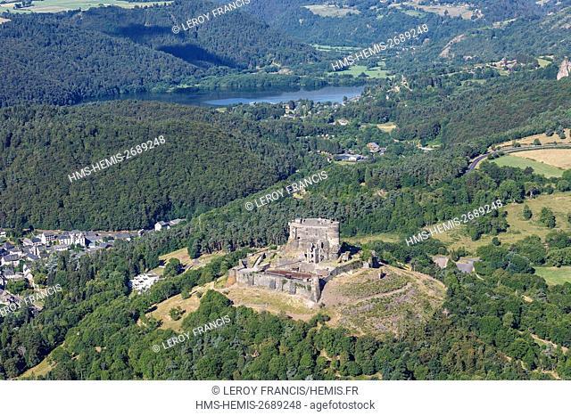 France, Puy de Dome, Murol, Murol castle before Chambon lake (aerial view)