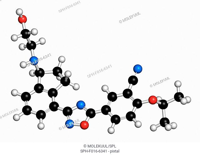 Ozanimod anti-inflammatory drug molecule (S1PR1 modulator). Atoms are represented as spheres with conventional colour coding: hydrogen (white), carbon (black)